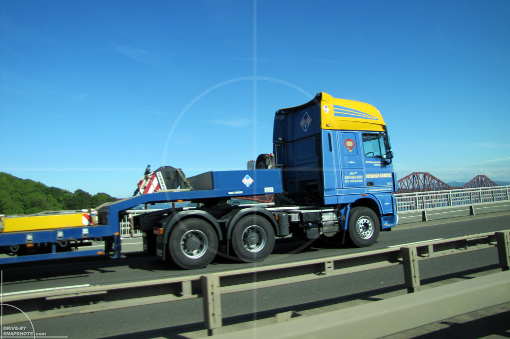 dbs Yellow and Blue DAF 95 Semi Truck Firth of Forth | Drive-by Snapshots by Sebastian Motsch (2014)