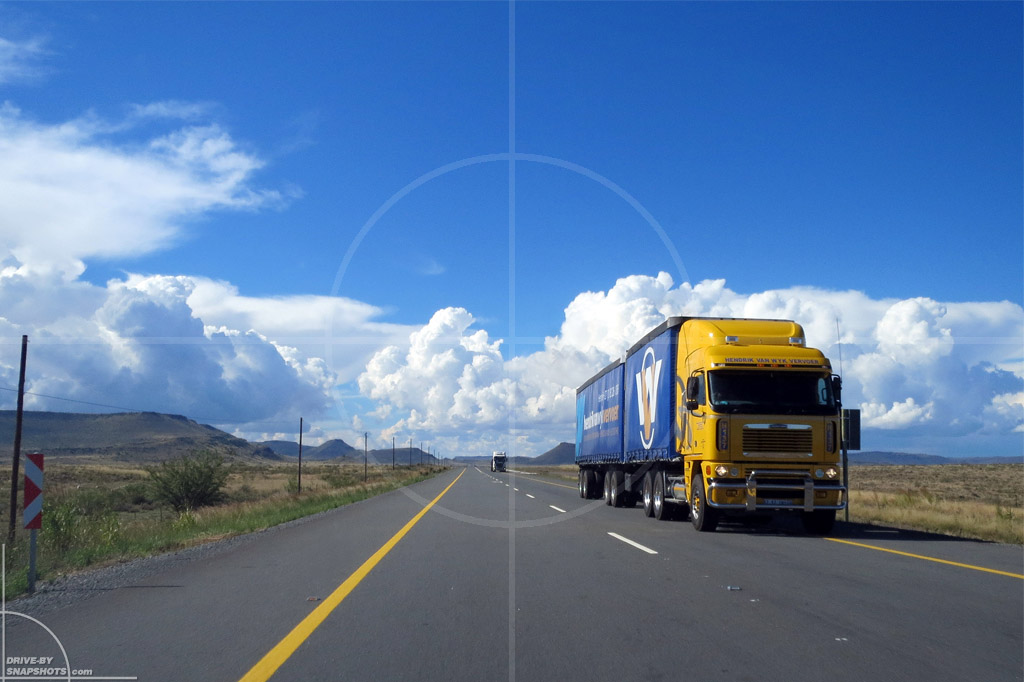 dbs Yellow and Blue Freightliner Semi Truck ZA | Drive-by Snapshots by Sebastian Motsch (2014)