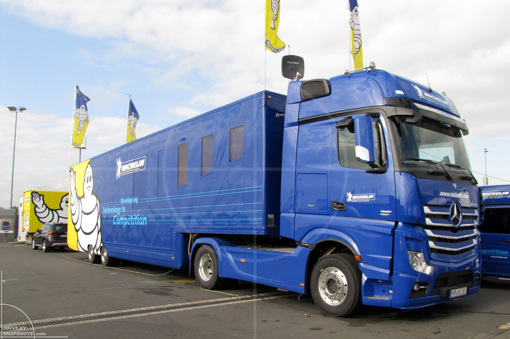 dbs Yellow and Blue Mercedes-Benz Actros MP4 Michelin VLN | Drive-by Snapshots by Sebastian Motsch (2014)
