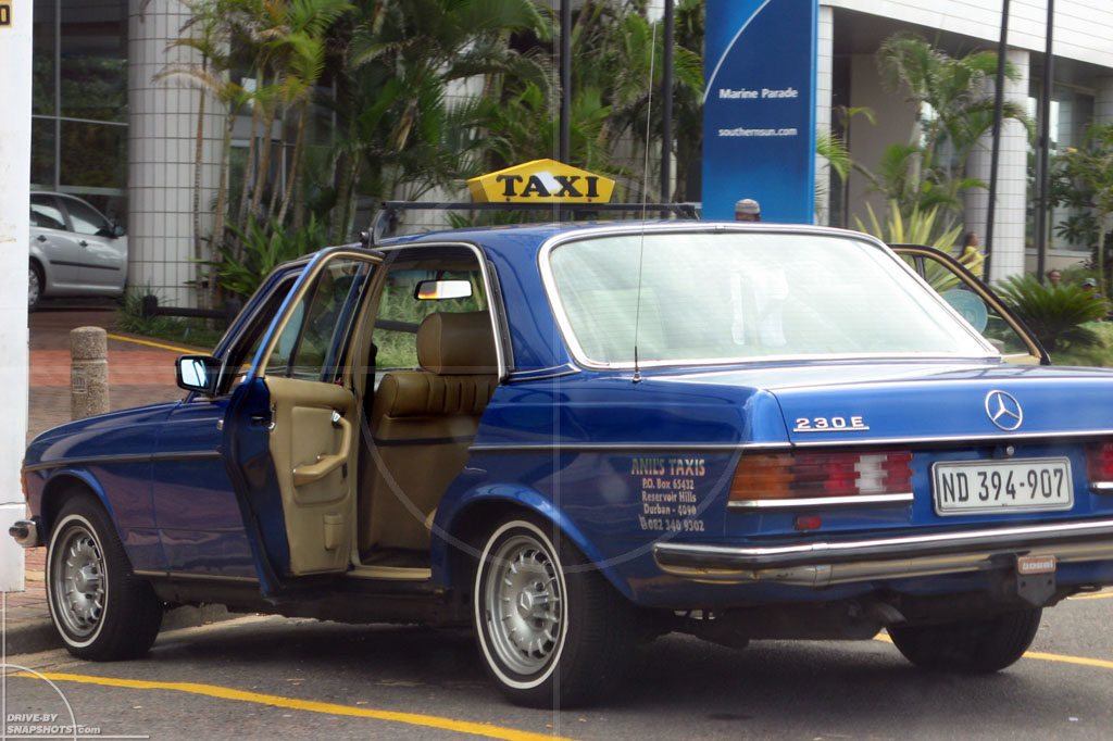 dbs Yellow and Blue Mercedes-Benz W123 Taxi Durban ZA | Drive-by Snapshots by Sebastian Motsch (2014)