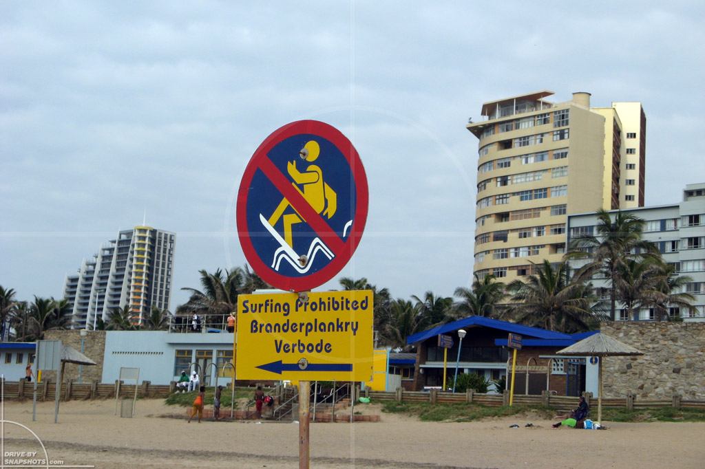 dbs Yellow and Blue Surf sign Durban | Drive-by Snapshots by Sebastian Motsch (2014)