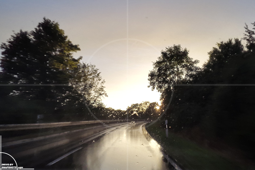 Sunset Snapshot on wet road 01 | Drive-by Snapshots by Sebastian Motsch (2015)